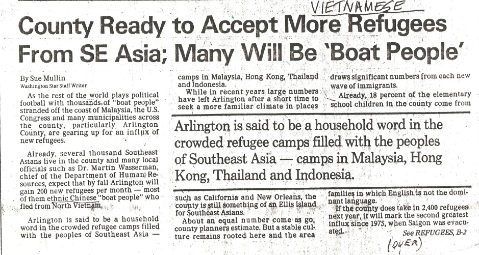 Vietnamese Refugees Arriving in  Arlington