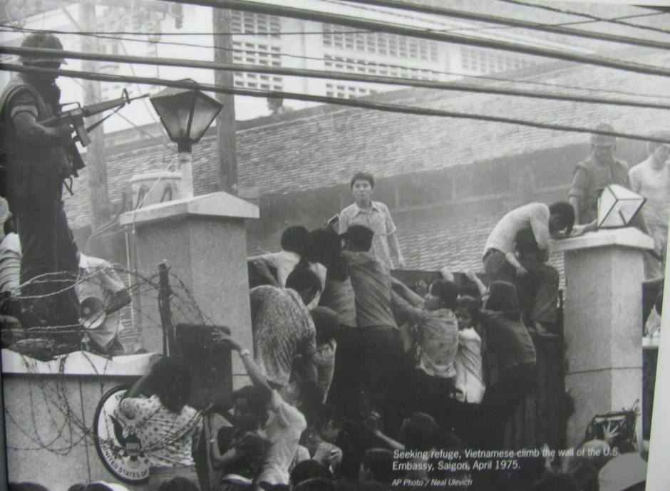 Vietnamese Refugees Climbing Wall of U.S. Embassy, Saigon, April 1975